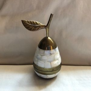 Vintage Brass Pear Container